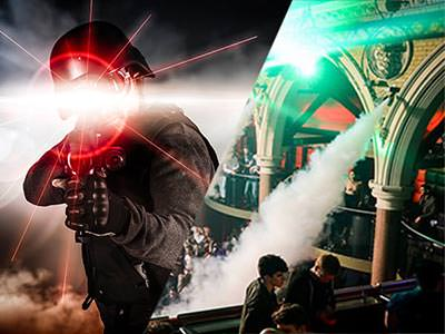 Split image of a man in black overalls and a helmet holding a laser gun, and smoke coming out of a smoke machine at a club