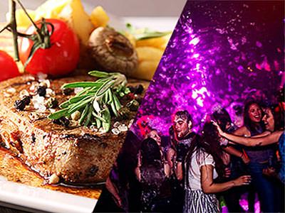 Split image of a steak with chips, tomato and mushrooms, and people dancing at a foam night in a club