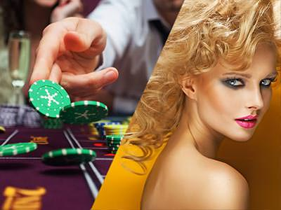 A split image of someone throwing poker chips onto a table, and one of a heavily made up blonde woman