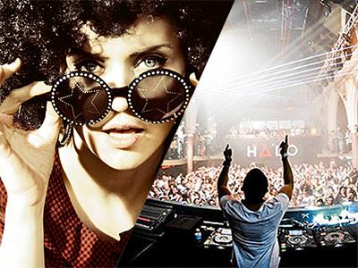 Cool girl wearing an afro wig, and a DJ performing to a large crowd in Halo nightclub