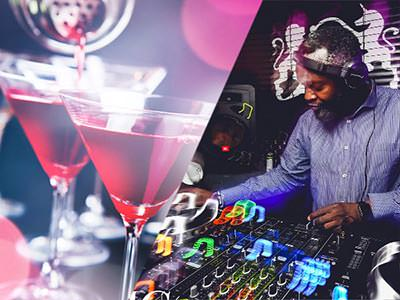 Split image of two pink cocktails, and a DJ on the decks
