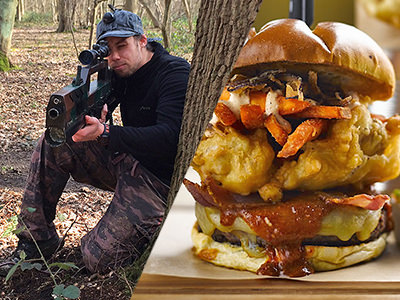 Split image of a man kneeling down and looking through the scope of this laser gun in the forest, and an image of a lartge burger including fries and onion rings.