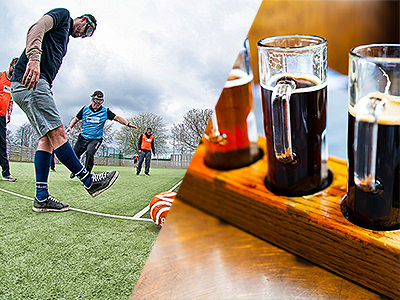 Split image of a man with googles attempting to kick a football and 3 tasting glasses on beer on a wooden tray.