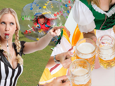 Split image of a blond female referre blowing a whistle in front of a man in an inflatable zorb and of three steins of beer held by women in Bavarian outfits.