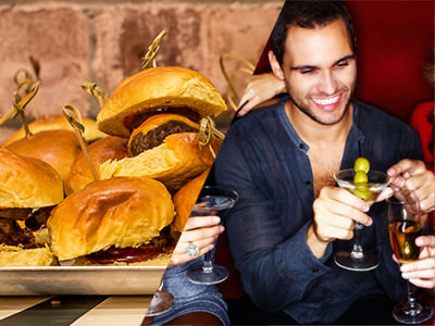 Split image of a plate of burgers with sticks coming out of them and a man in a blue shirt holding a cocktail.