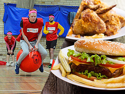 Split image of a guy in a red bib bouncing on a spacehopper, and an image of a burger and chips on a plate with chicken on a plate in the background.