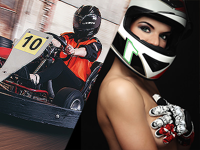 Split image of a man racing a go kart with the number 10 on the front and of a women in a racing helment with her hand covering her exposed chest.