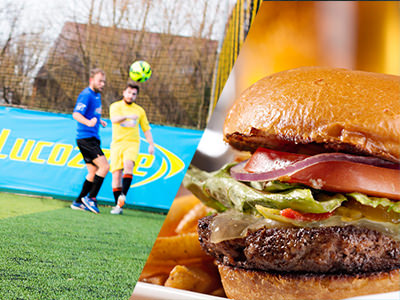 Split image of two guys playing football on an artifical pitch with the ball coming towards the camera, and an image of a bruger on a plate with fries.