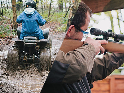 Split image of a quad bike riding through water in a forest and a man wearing protective glasses looking through the sight of a rifle.