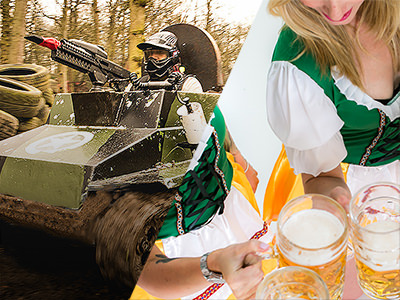 Split image of a man in a tank pointing the paintball gun, and of two women in Bavarian outfits holding steins of beer.