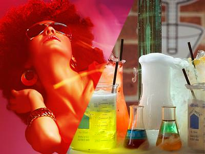 Split image of a women with an affro and wearing sunglases dancing and of a chemistry set with the jug bubbling smoke in front of test tubes with different liquids in them.