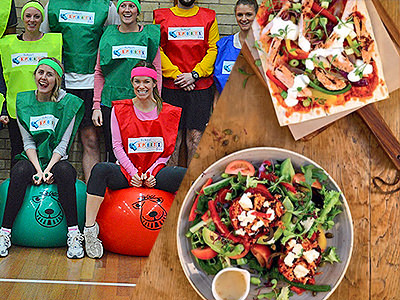 Split image of women in coloured bibs sat on spacehoppers and 2 plates of green salads on a wooden table.