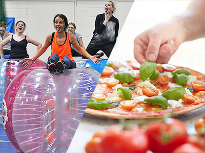 Split image of a women on top of a zorb and of a hand placing a leaf on a pizza.
