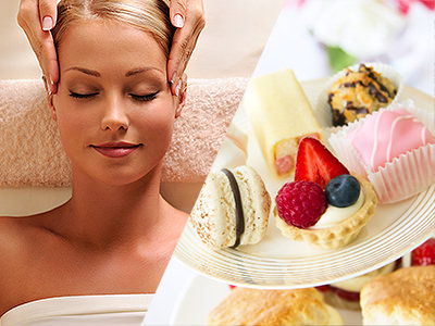 Split image of a blond women getting a massage and of a tray of afternoon tea including scones and cakes.