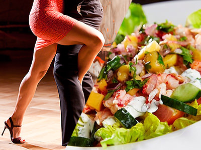 Split image of a green salad and a women dancing in a red dress with her leg wrapped roung a male dancing partner.