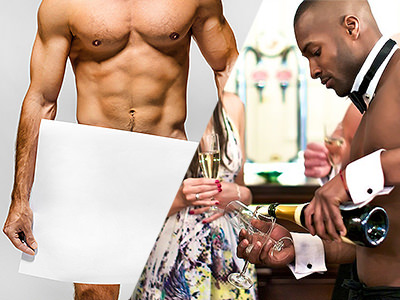 Split image of a shirtless male covering his modesty with a white board and of a male butler pouring a glass of bubbly with no top on.
