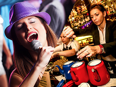 Split image of a women in a purple hat singing into a microphone and a women behind the bar pouring spirit