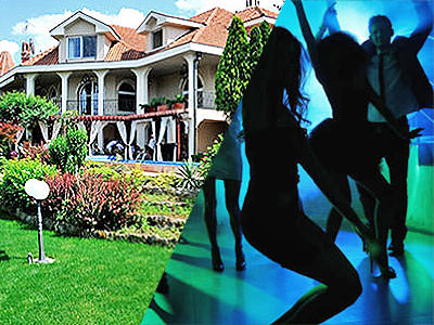 Split image of the exterior of a luxury villa and silhouettes of people dancing