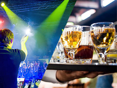 Split image of a DJ clapping his hands to the crowd and a waiter holding a tray of drinks