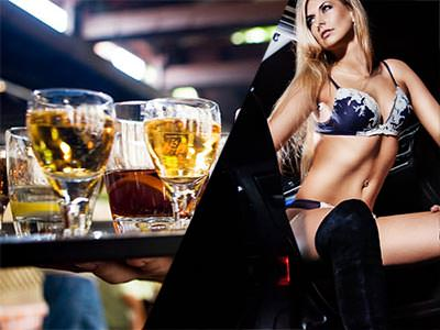 Split image of a waiter holding a tray of drinks and a woman sat in underwear and knee high boots