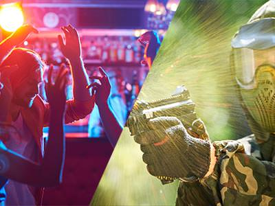 Split image of young people dancing in a club and a man firing a paintball gun