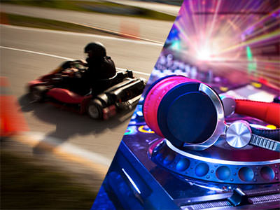 Split image of a person driving a kart on an outdoor track and headphones on a DJ deck