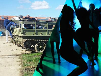 Split image of men climbing onto a tank outdoors, and silhouettes of people dancing