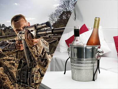 Split image of a man in paintball overalls and holding an air rifle, and bottles in a silver ice bucket
