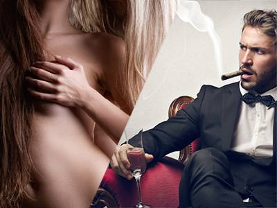 Split image of a semi-naked woman cupping her breasts and a man in a suit, sat in a red chair and smoking a cigar