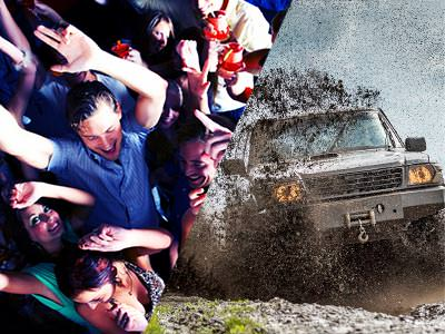 Split image of men and women dancing in a club and a 4x4 driving through mud