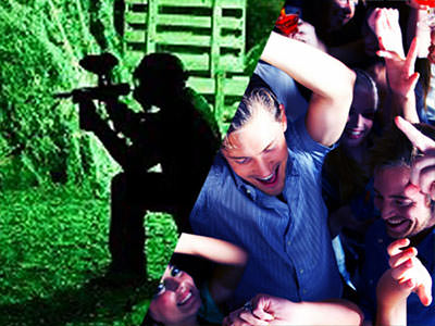 Split image of a man pointing a paintball gun with green lights lighting up the background, and of a guy dancing amongst a group of people.