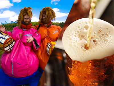 Split image of two men dressed up in orange and pink sumo suits and wigs, and a pint of beer being poured and spilling over the glass edge.