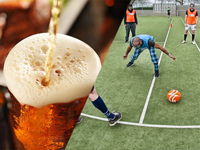Split image of a pint of beer being poured and spilling over the top and of a player trying to find the ball in goggle football.
