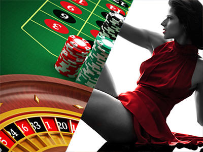Split image of a roulette table, wheel and chips and a women sat down in a red dress.