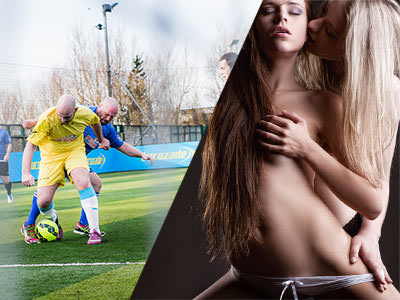 Split image of two men tackling each other for a yellow football and of two women together with one hand cupping the others breast.