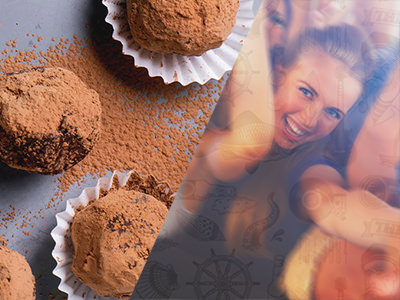 Split image of chocolate coated truffle balls and a women looking at the camera while dancing.