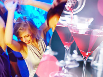 Split image of a women dancing in a white top and a strainer pouring some red cocktails into glasses.