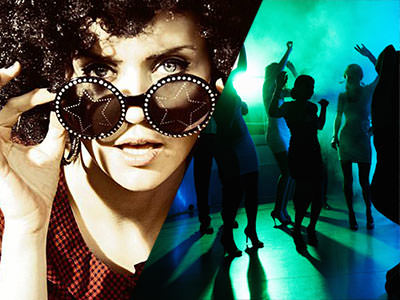 Split image of a women wearing glasses with a star in the middle of the lens, and of a group of people dancing in smoke with green lighting.