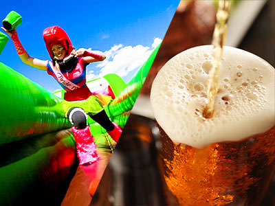 Split image of a women running through an inflatable course and a pint of beer being poured and spilling out over the glass.