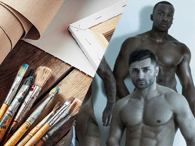 Split image of a pile of paintbrushes and paper on a table, and of two guys posing with their tops off.