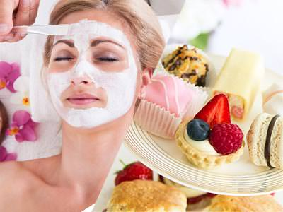 Split image of a women getting a facial treatment and a plate of afternoon tea cakes and scones.