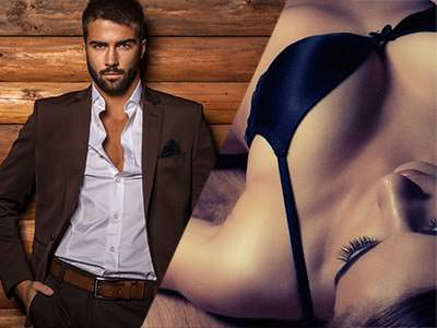 Split image of a woman lying on her back in underwear, and a man posing in a blazer