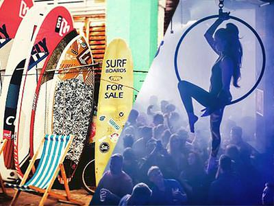 Split image of paddle boards along a wall and a tapeze artist above a packed dance floor