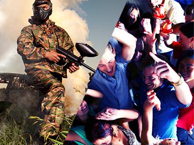 Split image of a man in camouflage and holding a paintball gun, and people dancing on a dancefloor
