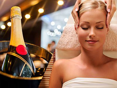 Split image of a bottle of champagne in an ice bucket, and a woman receiving a head massage