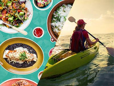 Split image of various food dishes on a blue background, and a woman in a kayak