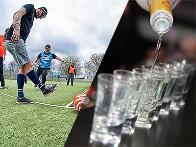 Split image of a man kicking a football with goggles on, and a line of shots being poured