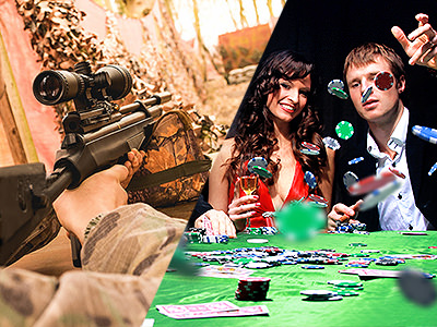 Split image of a man aiming with a rifle, and a man throwing poker chips onto a poker table whilst a woman looks on