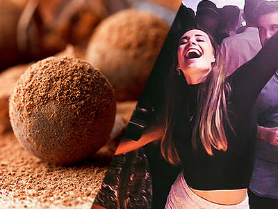 Split image of chocolate truffles and a woman dancing