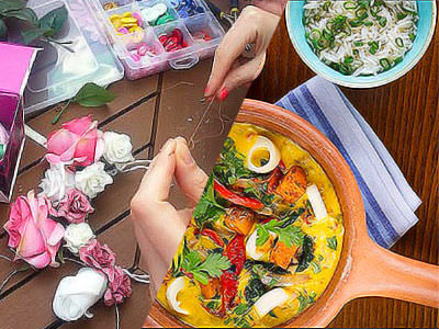 Split image of flowers, thread and beads in plastic trays, and two dishes of food served on a wooden table